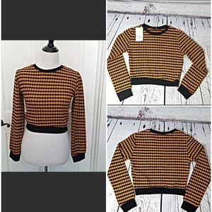 Zara Sweater NWT Size Small Orange Black